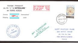 "B2 - TAAF Timbre France 9.11.1988 CAPE TOWN PAQUEBOT. 1ère Rotation De "" L'ASTROLABE"" - Covers & Documents"