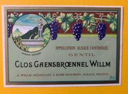 15080  -  Alsace  Gentil Clos Gaensbroennel Willm - Etiquetas