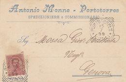 Porto Torres. 1899. Annullo Tondo Riquadrato PORTO TORRES (SASSARI), Su Cartolina Postale PUBBLICITARIA . BELLA. - Storia Postale