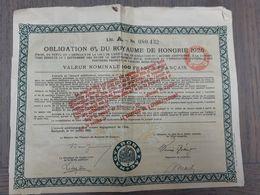Obligation Du Royaume De Hongrie 1925 - A Magyar Kiralysag 1925 ... Lot140 . - Ohne Zuordnung