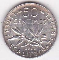 50 Centimes Semeuse 1919, En Argent - G. 50 Centimes