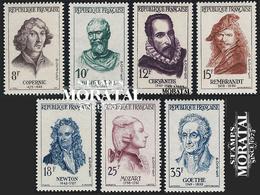 1957 France  Sc# 857/863  ** MNH Very Nice. Celebrities (Scott)  Personalities - Unused Stamps