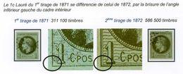 COLONIES GENERALES N°7 Empire 1c Olive 1er Et 2ème Tirage 2 TB Timbres Signés JF. Brun Et A. Maury - Napoléon III
