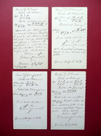 4 Cartoline Postali Partita A Scacchi Cassoli Cuniali Genova Modena 1881 - Cartoline