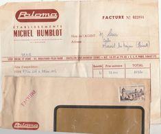 Facture 29/9/1956  Ets Michel Humblot PALOMA Cycles Motos Chatillon Sous Bagneux Seine Avec Enveloppe ( Abimée En Bas ) - Transport