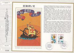 CEF Feuillet  N° 1085 Soie  -  EUROPA 92 - AMERICA -CHRISTOPHE COLOMB - STRASBOURG Et ST DIE    9 Mai 1992 - Documents De La Poste