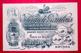 Buvard Alcool KIRSCH GAULOIS De La Haute-Saône Et Des Vosges, Distillerie à Aillevillers - Liqueur & Bière