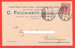 Thiene Bottonificio Facchinetti Viaggiata Per Valdagno 1912 - Trade
