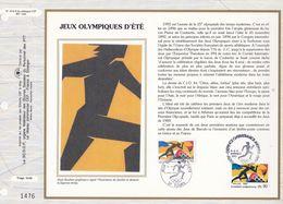 CEF Feuillet  N° 1076 Soie  -  JEUX OLYMPIQUES D'ETE -  TOURS Et ATHENES    3-4 Avril 1992 - Documents De La Poste