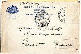 C2  1936 Lettre + Courrier Hotel Alexandra De Rome Pour La France (manque 2 Timbres) - Marcophilie (Lettres)