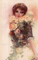 """Illustrateur  C. Monestier . Jeune Femme . """" Une Rose Parmi Les Roses  """" - Monestier, C."""