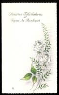 Faire-Part Mariage : Sincères Félicitations Et Voeux De Bonheur, Roses Blanches - Boda