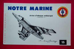 Buvard NOTRE MARINE N° 18, Avion D'Attaque Embarqué, Étendard IV, Signé Haffner - Buvards, Protège-cahiers Illustrés