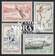 1958 Francia Yv# 1161/1164  **MNH  Perfecto Estado. Juegos Tradicionales (Yvert&Tellier)  Deportes - Francia