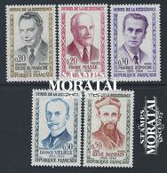 1960 Francia Yv# 1248/1252  *MH  Buen Estado. Heroes Resistencia IV (Yvert&Tellier)  Guerra - Francia