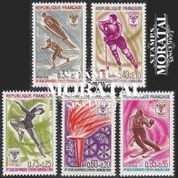 1968 Francia Yv# 1543/1547  **MNH  Perfecto Estado. J.O. Grenoble (Yvert&Tellier)  Deportes - Nuovi