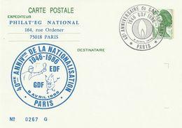 """Entier Repiqué De """"Paris - 75"""" Du 08-04-1986, """"40 Ans EDF-GDF 1946-1986"""" Sur EP 2375 - Biglietto Postale"""