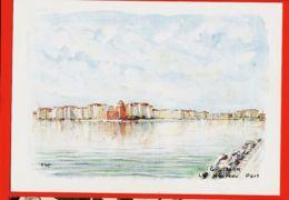 X11279 Peu Commun GRUISSAN 11-Aude Le NOUVEAU PORT Aquarelle Originale De René ANGLES 1989 YVON - Sonstige Gemeinden