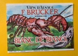 15093  -  Alsace  Pinot Blanc De Blancs  Spécial Crustacés F.Brucker - Etiquettes