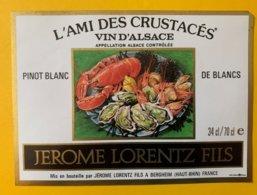 15102  -  Alsace Pinot Blanc De Blancs L'ami Des  Crustacés Jérôme Lorentz Fils - Etiquettes