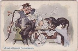 Chien,Dog,Teckel, Dachshund,signed, Beautiful Cpa Postcard. K.Pommerhanz..Schuldentilgungs-kommission. - Autres Illustrateurs