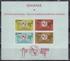 Ghana, 1965, 100 Years Of World Telecommunication Union, S/s Block  ITU - Other