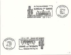 SPECIMEN SECAP - LUXEUIL-LES-BAINS AU PIED DES VOSGES CITE THERMALE CITE D'ART - 20.7.81  /1 - 47 - Postmark Collection (Covers)