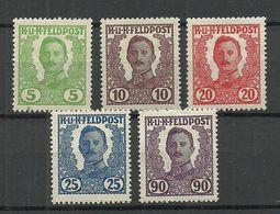 Österreich Austria 1918 Feldpost Field Post Nicht Ausgegebene Michel IV - VII & XIII * - 1850-1918 Empire