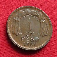 Chile 1 Un Peso 1954 KM# 179 Copper Chili - Chili
