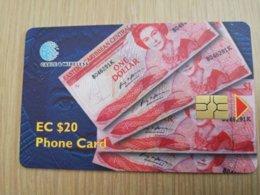 ST KITTS CHIPCARD  $20,- ONE EC DOLLAR BILJETS   NO STK-C5 Fine Used Card  **2312** - St. Kitts & Nevis
