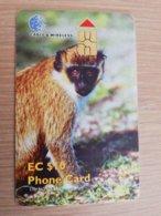 ST KITTS CHIPCARD  $10,- VERVET MONKEY    NO STK-C9 Fine Used Card  **2316** - Saint Kitts & Nevis