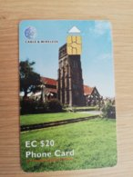 ST KITTS CHIPCARD  $20,- ST GEORGES ANGL.CHURCH     NO STK-C10 Fine Used Card  **2317** - Saint Kitts & Nevis