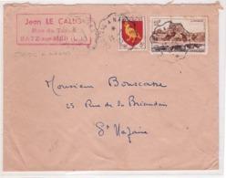 FRANCE - Lettre -  Enveloppe Publicitaire - Jean LE CALLO - BATZ SUR MER - Timbre Limoges Obl Convoyeur - 14-2-1957 - France