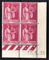 FRANCE 1932 - BLOC DE 4 TP  Y.T. N° 289 - NEUFS** COIN DE FEUILLE / DATE - Nuevos