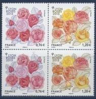 N° 4957 & 4958 Congès Mondial Des Stés De Roses 2015 à Lyon Bloc De 4 - France