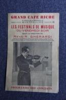 MONTPELLIER, Grand Café Riche, Programme Musical, Festival De Musique, René - R.GHERARDI, Violonniste - Programmes