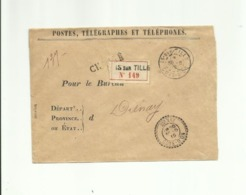 Cote D'Or Is-sur-Tille Type A3 Sur Lettre De Service Chargée Pour Le Bureau De Diénay Type B3 - 1877-1920: Semi-Moderne