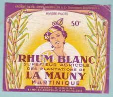Etiquette Rhum Blanc Supérieur Agricole Plantations De La Mauny Martinique - Rhum