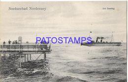 135833 GERMANY NORDSEEBAD NORDERNEY VIEW SHIP & DOCK POSTAL POSTCARD - Allemagne