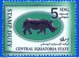 SOUTH SUDAN 5 SDG Revenue / Fiscal Stamp Central Equatoria State RHINO Timbres Fiscaux Soudan Du Sud RARE! - Südsudan