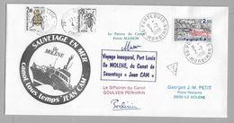 """Tir - Sauvetage En Mer - Voyage Inaugural PORT LOUIS - Ile MOLENE Du Canot De Sauvetage """" JEAN CAM """" 2.7.1988 - Marcophilie (Lettres)"""
