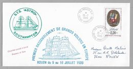 """Tir - ROUEN Voiles De La LIBERTE - S.T.S. """" ASTRID """" Du 13.7.1989. - Marcophilie (Lettres)"""