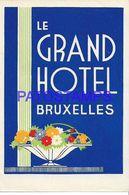 135867 BELGIUM BRUXELLES PUBLICITY LE GRAND HOTEL LUGGAGE  NO POSTAL POSTCARD - Etiketten Van Hotels