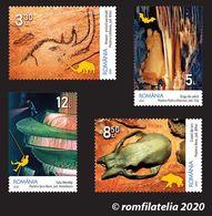 "ROMANIA 2020  SPELEOLOGY Institute ""EMIL RACOVITA""-100 Years - Set 4 Stamps - Bats, Bears, Rhinos- MNH** - Prehistorics"