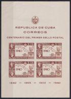 1940-303 CUBA REPUBLICA 1940 HF Ed.343 ROWLAND HILL BLACK PENNY ORIGINAL GUM MANCHAS. - Prephilately