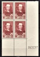 FRANCE 1936/37 - BLOC DE 4 TP NEUF** Y.T. N° 335 - COIN DE FEUILLE / DATE - 1930-1939
