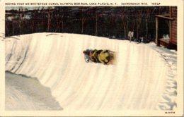 New York Adirondacks Lake Placid Olympic Bob Run Riding High On Whiteface Curve 1939 Curteich - Adirondack