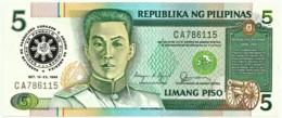 PHILIPPINES - 5 Piso 1986 Commemorative Pick 175.b Unc. BLACK Serial # Sign. 11 Serie CA Seal Type 4 - Emilio Aguinaldo - Philippines