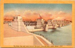 Iowa Davenport The Roller Dam And Locks 1947 Dexter Press - Davenport