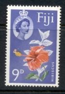 Fiji 1959-63 QEII Pictorial, Hibiscus 9d MLH - Fiji (1970-...)